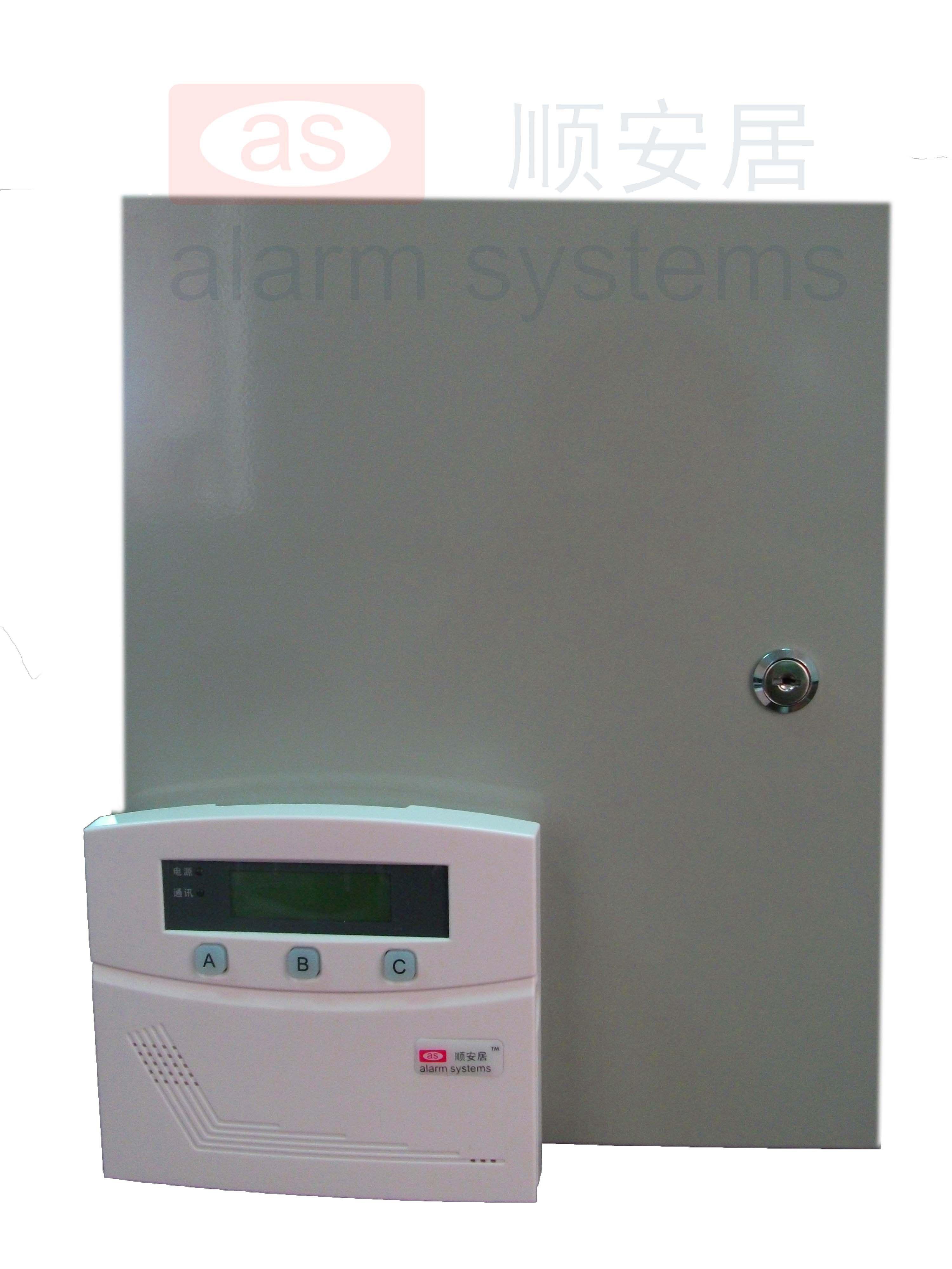 AS-8000 智能小区联网报警系统报警器 最多可接120个楼栋通讯机(AS-8120):自身带有8个有线,通过通讯接口可以外接最多14400个报警模块或者可独立布撤防的8防区小主机,每个输入设备最多可接8个防区,最大支持防区数115208。 整个主机可以分为8个子系统,每个子系统相当于一台主机。 外接的楼栋通讯机从000设备开始,按照地址码的顺序,最大120个设备,地址码是119,每个键盘可以拥有其中的1个或多个设备,各键盘分别对自己的所管辖的所有设备同时进行布防、撤防等操作;键盘可以对单个设备独立进行